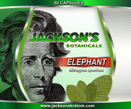 50 Capsules of Elephant Mitragyna speciosa.  One of the newest strains to be offered by Jackson's, Elephant.  This strain received its named due to the enormous size of the leaves.  Elephant Mitragyna speciosa contains an extra set of alkaloids that are only found in this strain.   SUPPLY IS VERY LIMITED!