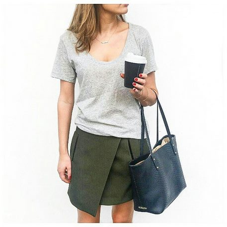 Organic Cotton Grey T plus Wrap Skirt Office Cool