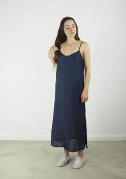 Slip Dress Long Indigo