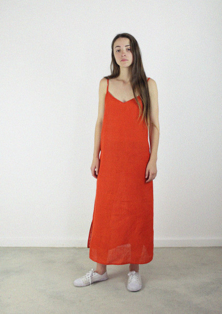 Slip Dress Long Bell Pepper Red Hemp Linen