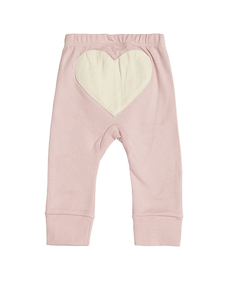 Pink Hearts baby pants organic cotton, back