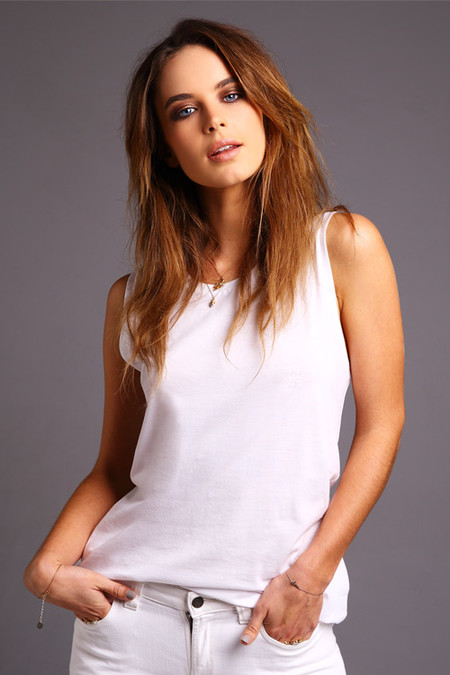 Muscle Tee Loose Fit White, Model