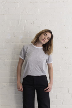 contrast tee grey with white