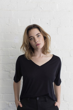 V Neck Organic Cotton Top - Black