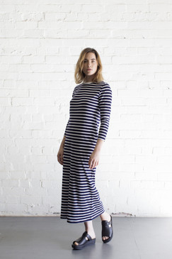 Long Sleeve Mid Calf Length Dress - Stripe  | Organic Cotton