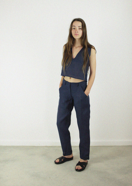 Cuff Pants in Indigo Blue