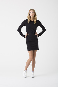 Stretch Dress | Organic Cotton | Long Sleeved Black