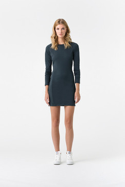 Stretch Dress | Organic Cotton | Long Sleeved Charcoal Grey