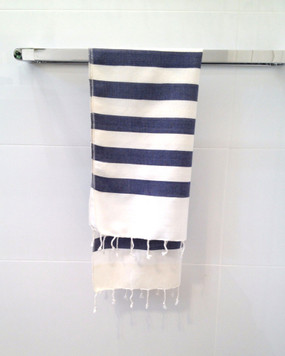 Navy & White Stripes Hand Towel