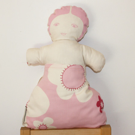 organic cotton satin, wool, Pink doll front