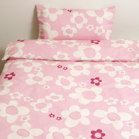organic cotton satin, Pink Flower, Flat