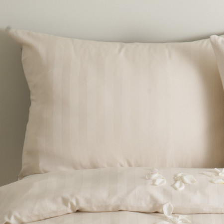 organic cotton satin, Creme pillow case