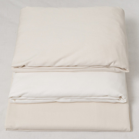 Satin fitted sheets, mixed, white and creme