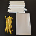 "35 4""x6"" Cello Bags, 35 Paper (115mm) Lollipop Sticks & 35 Twist Ties"