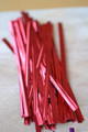 "4"" (100mm) Red Metallic Twist Ties"