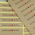48 'Handmade with Love' Stickers - 75mm x 13mm