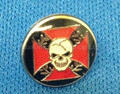 Lapel pin Red Maltese Cross with Skull