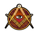 2.5  Dia Decal  3mm Laminated  Square & Compass with All Seeing Eye