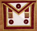 Master Masons Apron Burgandy Red with Gold Trim