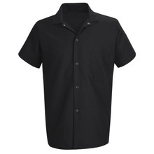 Unisex Snap Front Cook Shirt, Black, size:S-4XL