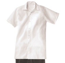Unisex Long Snap Cook Shirt, White, 100% Spun Poly, size:XS-5XL