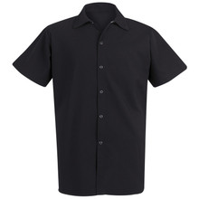 Unisex Long Snap Cook Shirt, Black, 100% Spun Poly, size:XS-5XL