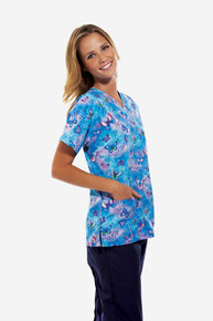 Cherokee Scrub HQ V-Neck Top, Fly By Night (XS-5XL)
