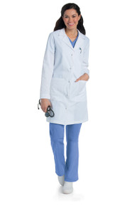 "36"" Landau Women's Cotton Knot Button Lab Coat (0-20)"