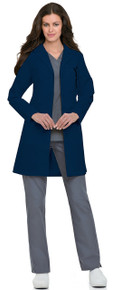 "38"" Landau Women's Navy Classic Lab Coat (4-20,40-48)"