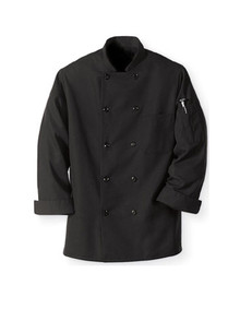 Chef Design 10 Button Black Chef Coat, 100% Spun Poly, size:XS-5XL
