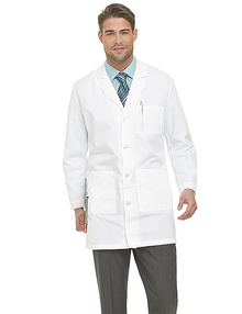 "38"" Landau Labcoat, poly/cotton sanded twill, size:32-56,38T-56T"