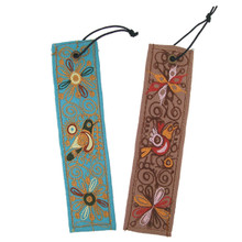 Embroidered Bookmark Cotton & Leather Backing