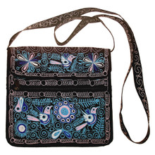Embroidered Cotton Zippered Square Purse