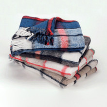 "Plaid Reversible Blanket 64"" x 80"" Assorted Colors Machine Washable"