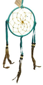 "Dream Catcher Hand Made Decorative 3"" Assorted Colors Feathers"