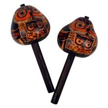 "Gourd Owl Stick maraca Pairs Set 7"""