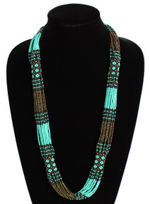 "Glass Beaded Clusters and Strands Magnetic Clasp 30"" Long Sleeping Beauty Necklace Handcrafted Zulu"