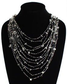 Cascade Necklace Woven Bead Crystals Magnetic Clasp Black and Crystal 24""