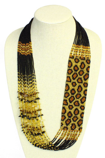 Leopard Czech Glass Seed Beads Gold and Amber Necklace with Magnetic Clasp (NE702-368)