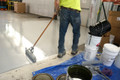 One-coat application of a heavy duty floor coating saves time!