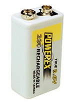 MHR9V PowerEx 9V Rechargeable Battery - 9.6V/NiMH 230mAh