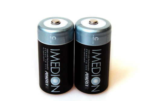 PowerEx IMEDION Rechargeable C Batteries - 5000mAh, Ultra Low Self-Discharge (2-Pack)