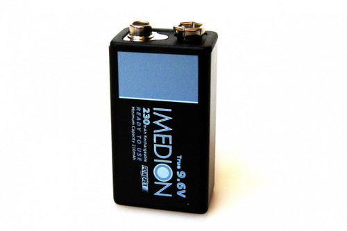 PowerEx IMEDION Rechargeable 9V Battery - True 9.6V, 230mAh, Ultra Low Self-Discharge