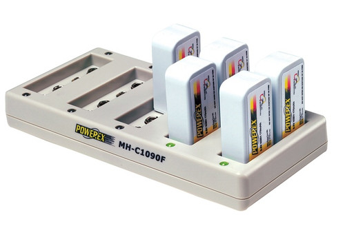 Maha PowerEx MH-C1090F Ten-Bank 9V Rapid Charger for 9-Volt NiMH rechargeable batteries