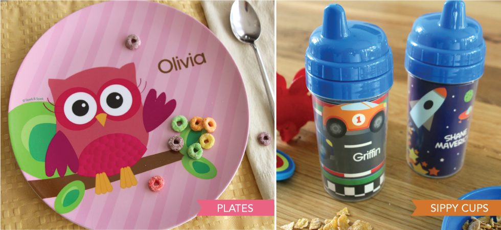 Personalized plates and snackbowls for kids