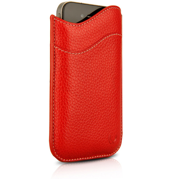 Beyza Red ID Slim Leather Case for Apple iPhone 4 / 4S
