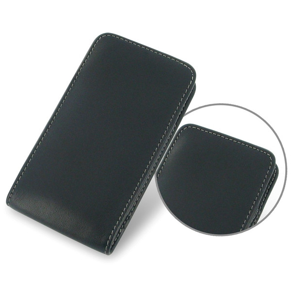 PDair Black Leather Vertical Pouch for Motorola Droid MAXX