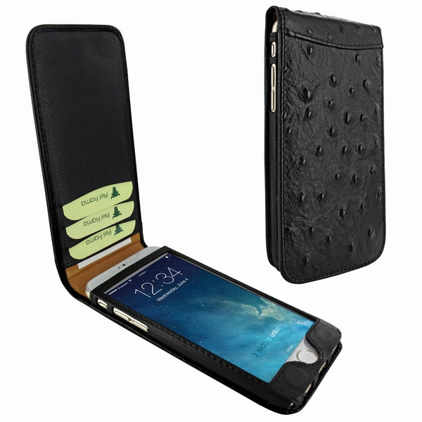 Piel Frama 689 Black Ostrich Magnetic Leather Case for Apple iPhone 6 Plus