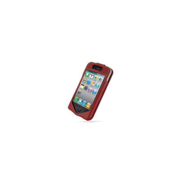 PDair Red Leather Sleeve-Style Case for Apple iPhone 4 / 4S