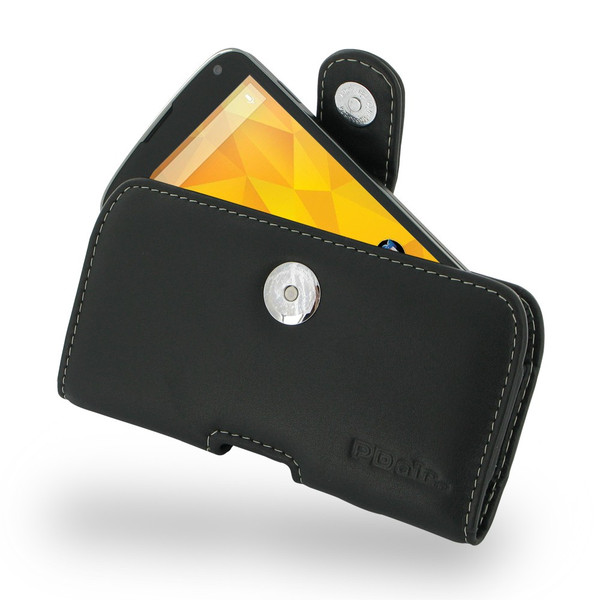 PDair Black Leather Horizontal Pouch for Google Nexus 4